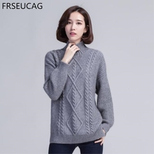 FRSEUCAG Autumn and winter new pullover round neck pure color cashmere sweater Ladies long sleeves casual and comfortable
