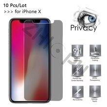 Protector de pantalla para iPhone X de Apple, cristal templado de máxima calidad, 2,5d, borde de arco, privacidad, 10 unidades por lote