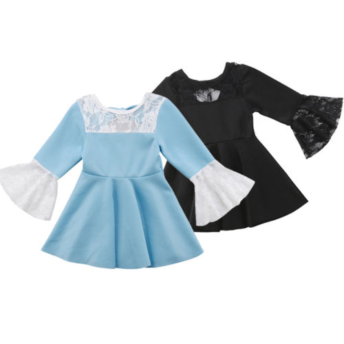 Toddler Baby Girls Dress Long Sleeve Princess Flare Sleeve Lace Ruffle Girl Sundress Dresses In Dresses From Mother Kids On Aliexpress Com Alibaba Group