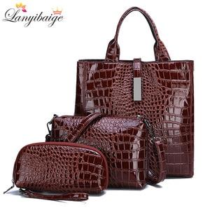 Image 1 - Новый роскошный костюм из 3 предметов, женская сумка, большая Вместительная женская сумка, ретро сумки на плечо, женская кожаная большая сумка тоут с сумкой через плечо