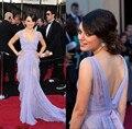 MILA KUNIS Vestido de Oscar 2017 Light Purple Lace Red Carpet vestido de Noche Vestido de La Celebridad Ocasión Especial