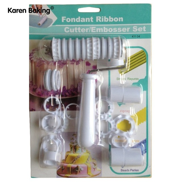 fondant ribbon cutter embosser roller cake decorating tools a051 in
