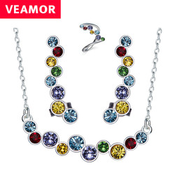 Genuine 925 sterling silver bridal jewelry sets multicolor crystals from australia women necklace earrings rings fashion.jpg 250x250