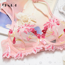 Flowers Embroidery Lingerie Set Lace Blue Transparent Underwear Set Women Sexy Hollow out See Through Bra Pink