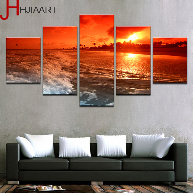 Hjiaart canvas pictures home decor framed 5 pieces sunset glow tinted red sky painting beach sea