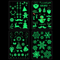 1Sheet Christmas Luminous Glow in the Dark Fluorescent Temporary Tattoo Stickers Kids Adults Christmas Ornament Decorations