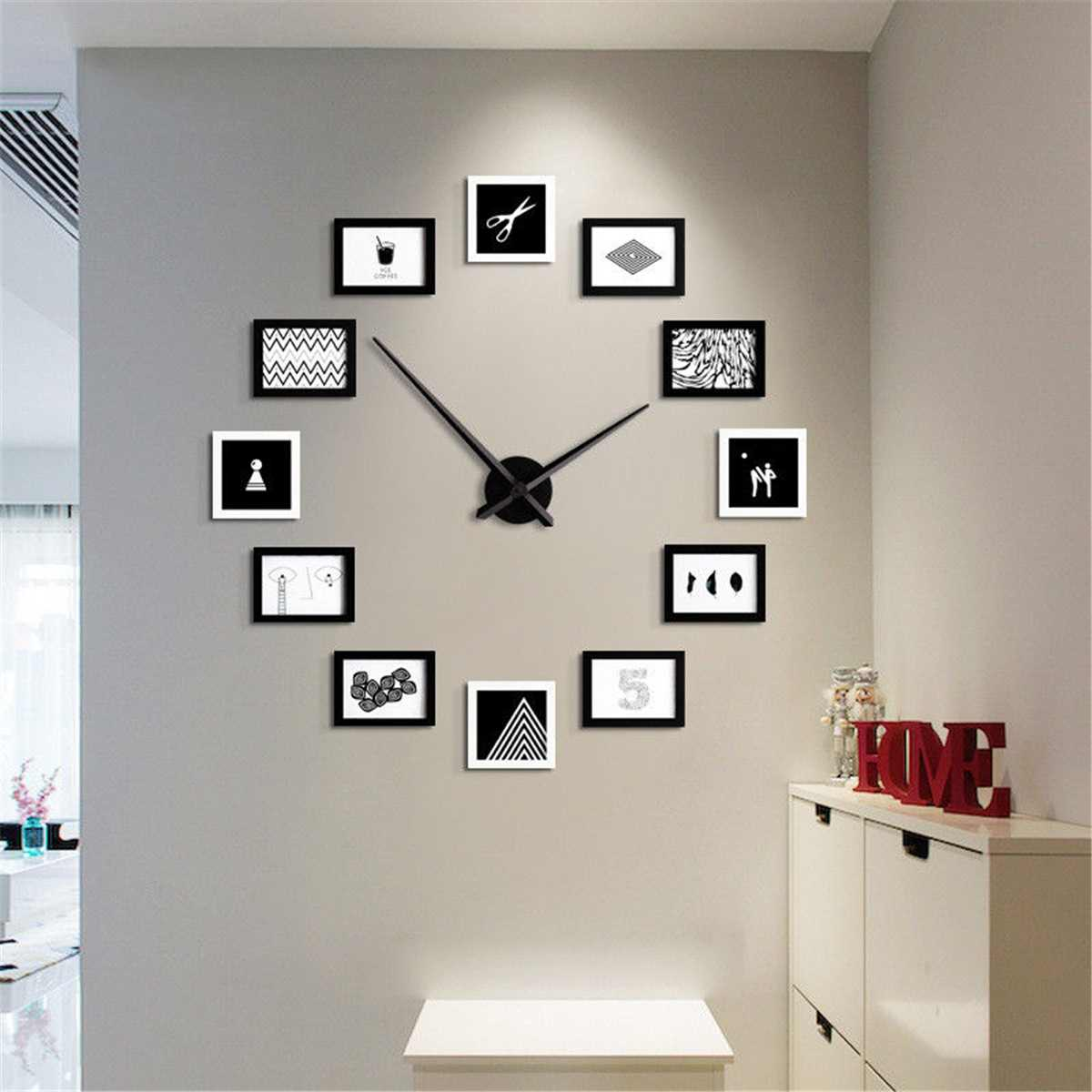 2019 12 Photo Frames DIY Wall Clock Modern Design Wood Photo Frame ...