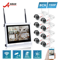 ANRAN P2P CCTV 8CH WIFI NVR System 12 Inch LCD Monitor 24 IR Waterproof Network 720P