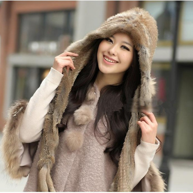 Warm Winter Scarf Women Knit Wool Real Rabbit Fur Scarf Lady Casual Scarves Wraps Accessories brown