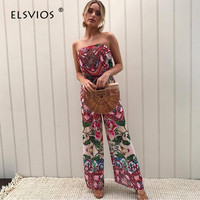 ELSVIOS Women Strapless Floral Print Sexy Jumpsuits Spring Summer Beach Overalls Casual Rompers Backless Elegant Party