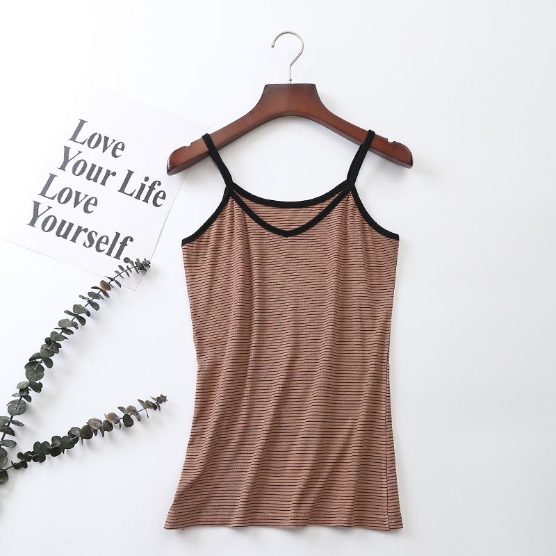 Fashion Women V neck Vest Camisole Casual Tops Sling Tank Tops Cotton Vest Stretch Ladies Slim Shirt Sexy With Strips Camis Tops in Camis from Women 39 s Clothing