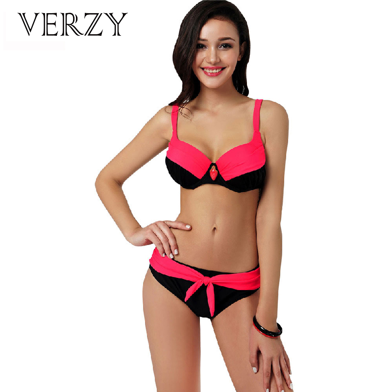 Plus size push up bikini swimwear women summer clothes for Ladies Busty breast Bikini 4 colors knot women High quality swimsuit busty