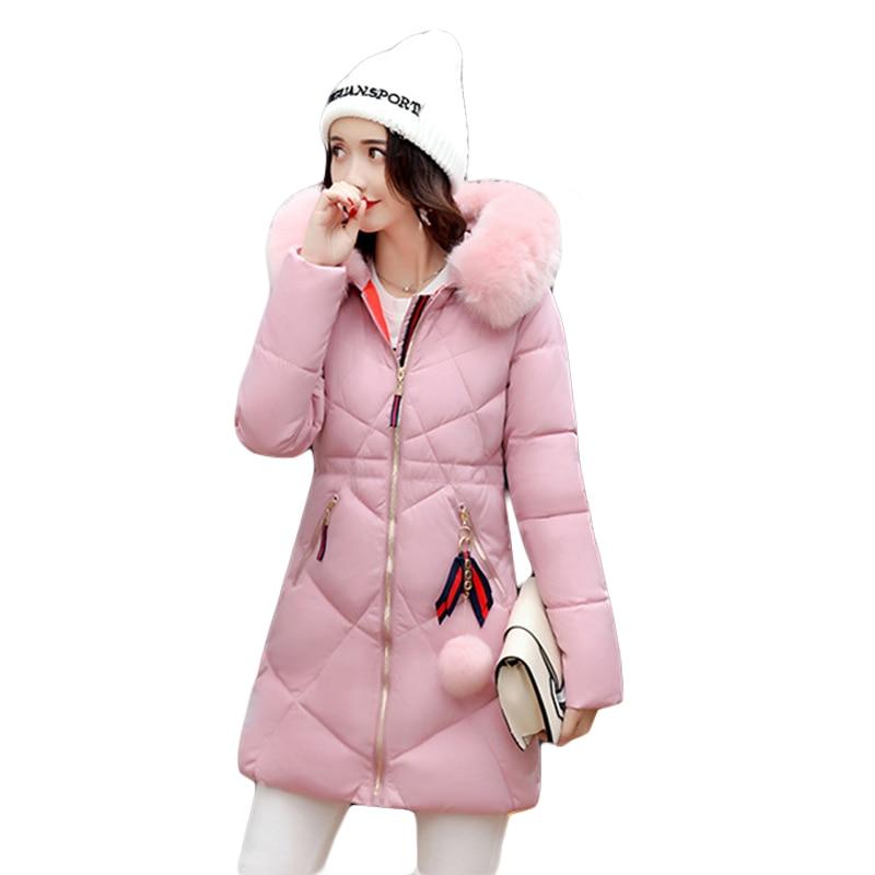 2017 Medium-long Parkas Women Large Fur Collar Jacket Female Warm Outwear Thin Padded Cotton Jacket Coats Women Clothing CM1393