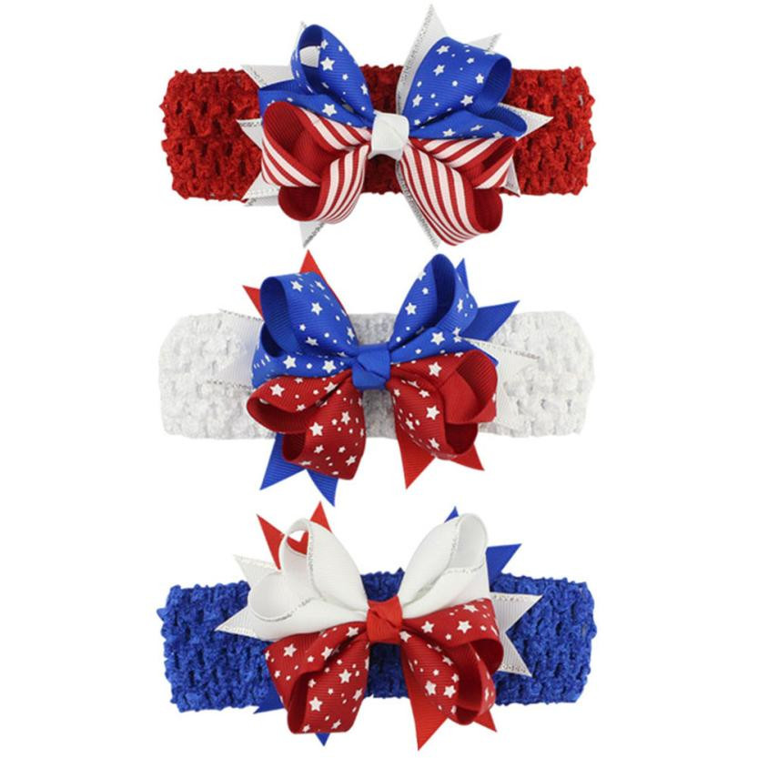 New Arrival Newborn Baby Girls 4th Of July Star Stripe Star Hairband Solid Color High Quality Best Selling Headband