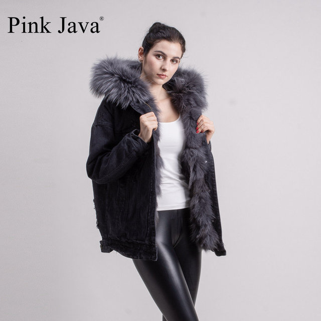 ROSA JAVA QC1816 2018 new arrival real fox fur forro jaqueta jeans jaqueta com capuz de pele de guaxinim denim casaco winther grande colar
