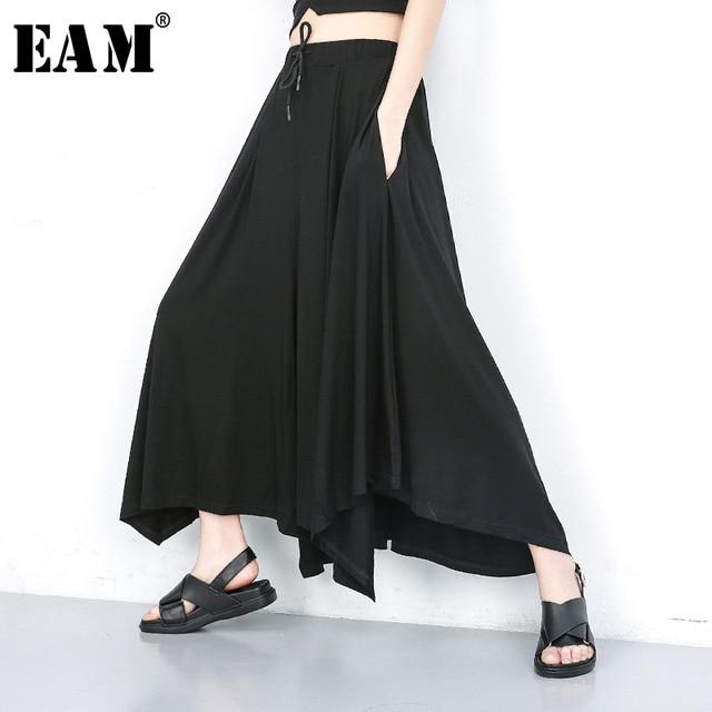 [EAM] 2019 New Spring Summer High Elastic Waist Black Leisure Irregular Wide Leg Loose Pants Women Trousers Fashion Tide JU667