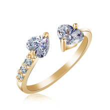 Stylish Female Gold Silver Rings Inlaid With Double Heart Shaped Cubic Zircons Wedding Ring For Wemon Gifts(China)