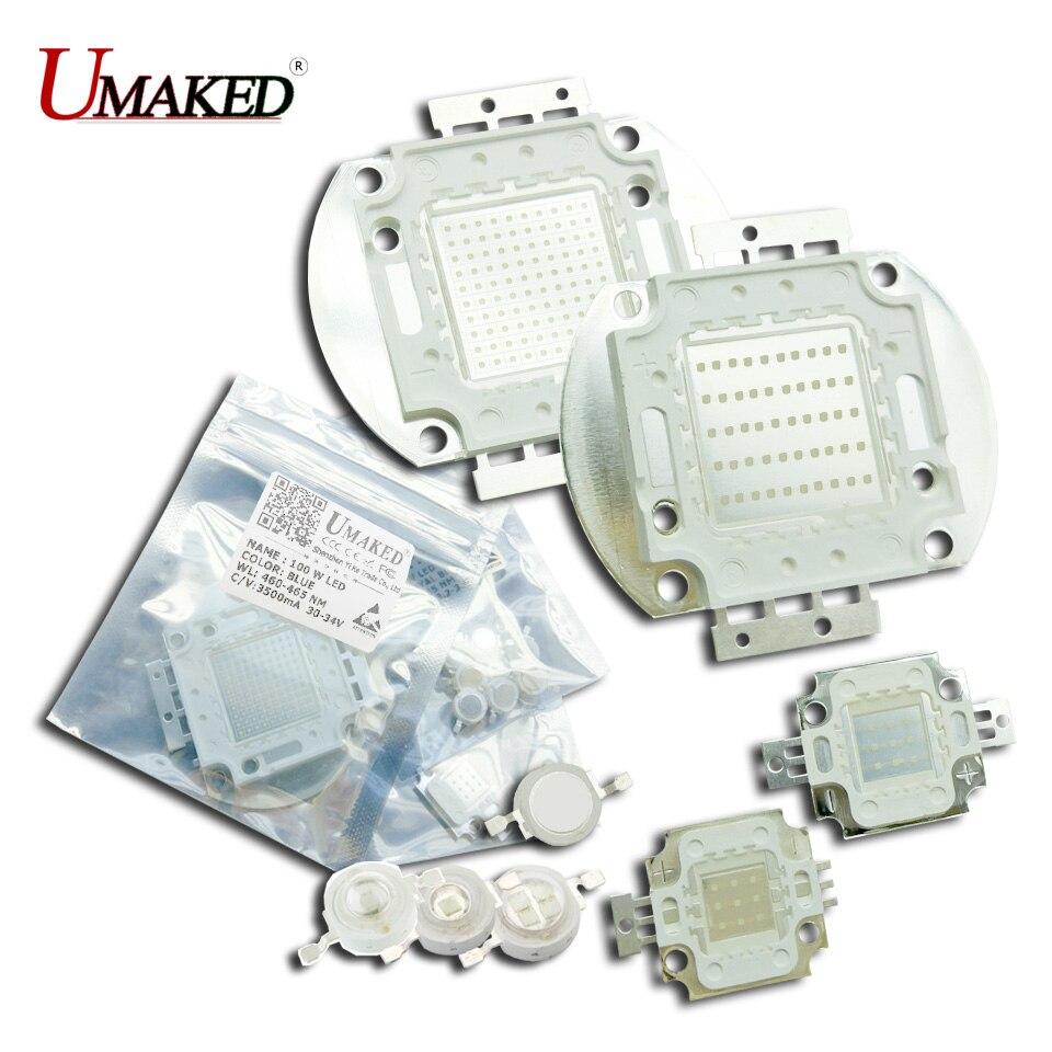 UMAKED High Power LED Chips 1W 3W 5W 10W 20W 30W 50W 100W Bulb SMD COB Diode Blue 460-465nm Royal Blue 440nm DIY Lights Source