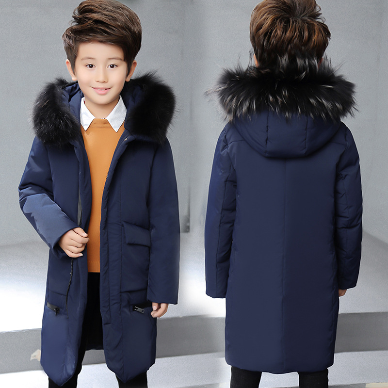 цена на Boy winter long warm down jacket Boy simple fashion warm down jacket Boy big fur collar thick coat Boy solid color coat