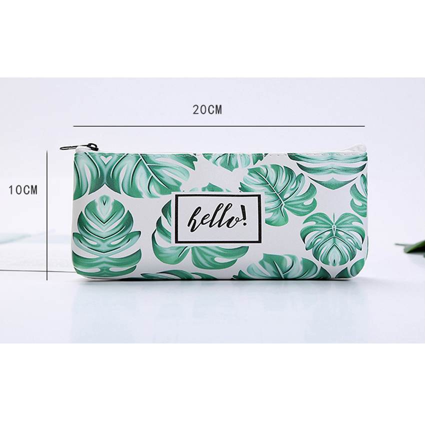 1pcs lot Korean Green Leaves Cute Large Capacity Pencil Case Stationery Zipper Pencil Bag For School And Office Supply in Pencil Bags from Office School Supplies