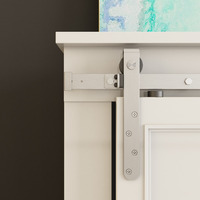 DIYHD 48 60 70 Brushed Stainless Steel Mini Strap Double Sliding Cabinet Barn Door Hardware To