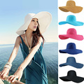 17 del Color del caramelo sombreros para mujeres playa del estilo del verano de ala ancha de paja dom visera ala ancha floppy sombrero de sun viseras para mujeres