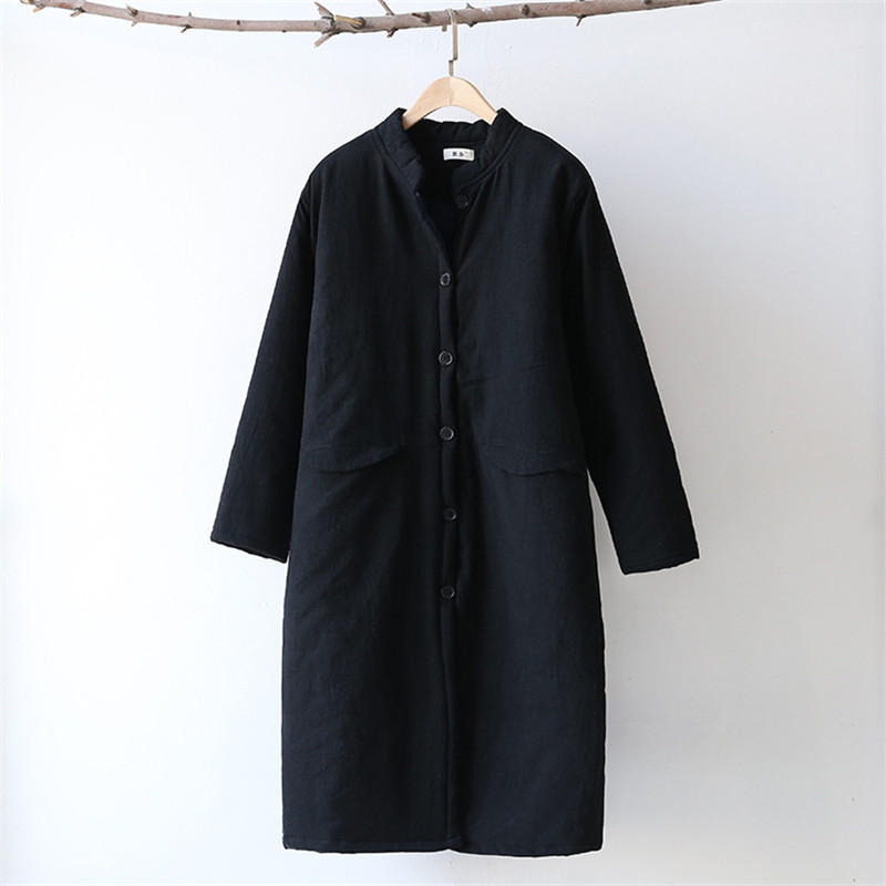 Woherb冬新しいファッション女性パーカーヴィンテージコットンリネンカジュアルロング暖かいコートソリッドスタンド襟パッド入りジャケット73683  グループ上の レディース衣服 からの パーカー の中 2