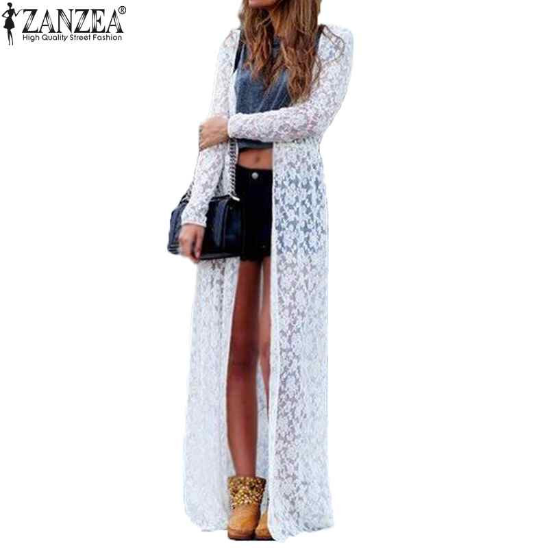 Plus Size ZANZEA Blusas 2018 Spring Kvinder Outwear Lace Long Sleeve Beach Kimono Cardigan Casual Løse Long Blouses 6 Colors