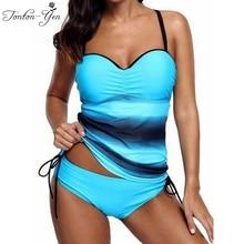 2018 Das Mulheres Novas Impresso Acolchoado Tankini Plus Size Swimwear Maiô Beachwear Natação Monokini Biquini Set Two-piece Ternos S-3XL