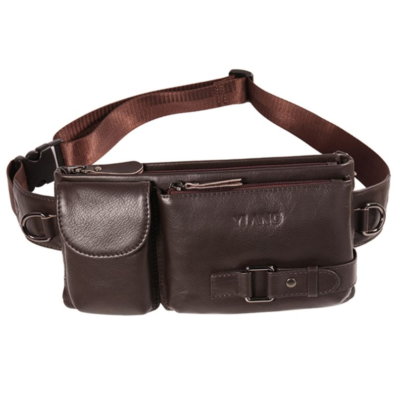 Men PU Leather Waist Pack Phone Pouch Holder Fanny Sling Shoulder Crossbody Bag(China)