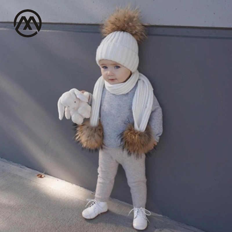 детские вязаные шапки хлопок теплые и удобные осенние и зимние из меха енота
