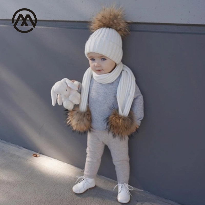 Children's Knitted Cotton Hats Warm And Comfortable Autumn And Winter Raccoon Fur Pom-pom Boy And Girl Ski Mask Caps Kids Scarf