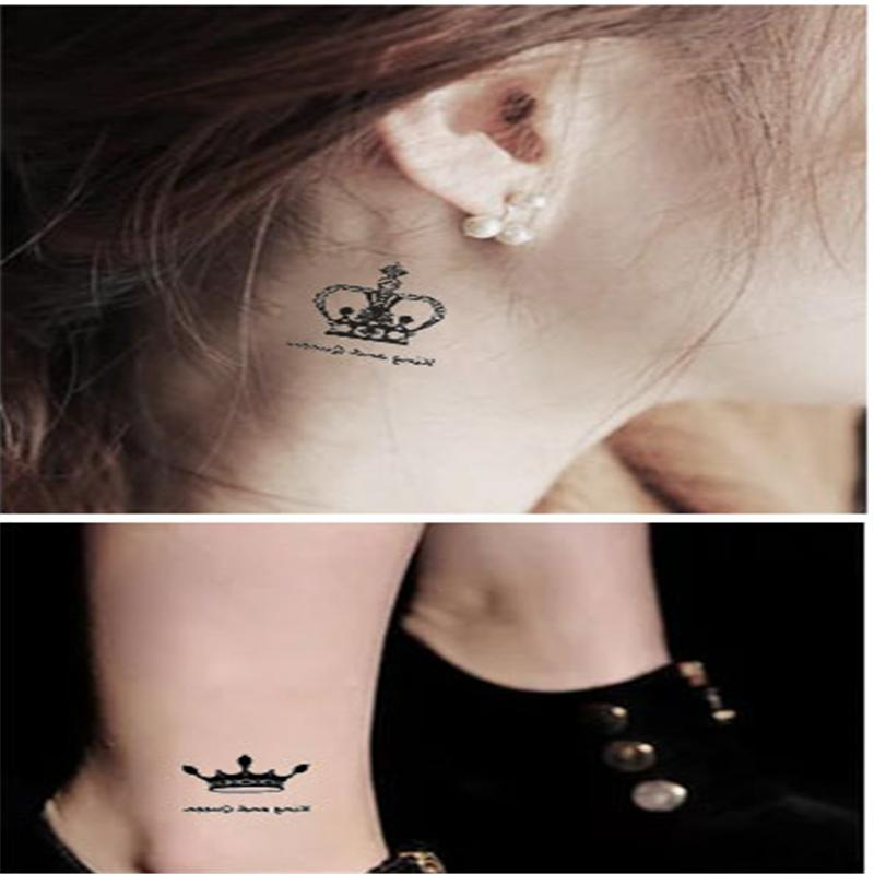 New Temporary Tattoo stickers waterproof makeup make up human Crown Diamond Tattoo ...