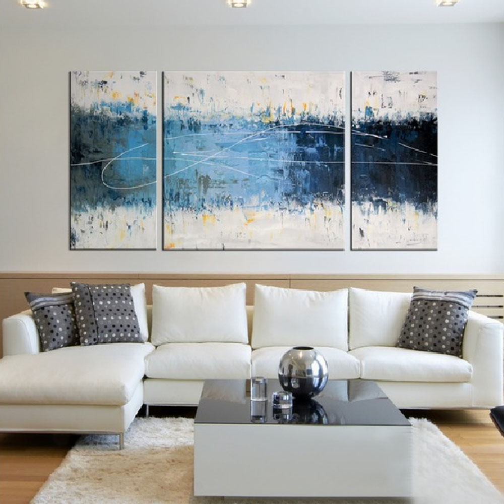 Iarts contemporary paintings on canvas 3 styles canvas for Blue wall art for living room