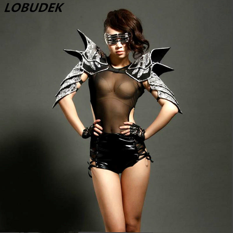 2015 New Style Sexy Female Singer Coverall Costume Ds Habergeon Japanned Leather Armor Bodysuit Stage Dance Dj Clothing