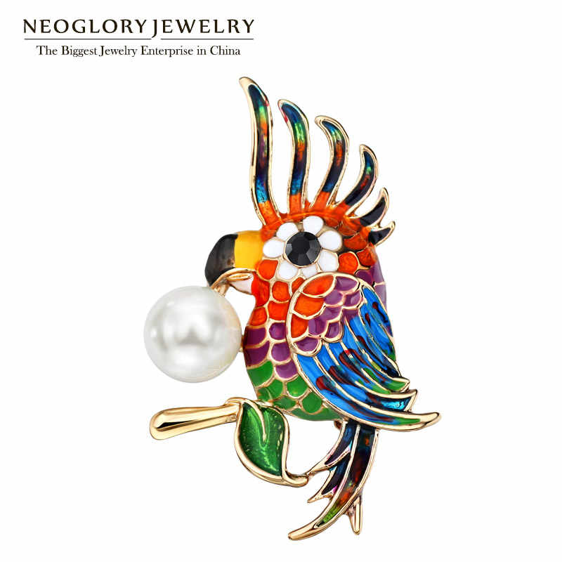 Neoglory animal bonito pica-pau pássaros pinos coloridos e broches para mulheres moda vintage jóias presentes de festa 2020