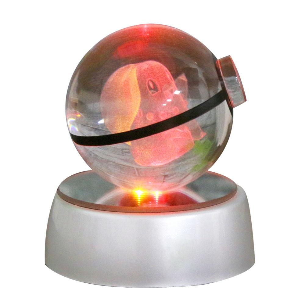 hui yuan crystal pokemon ball chikorita 5cm transparent glass