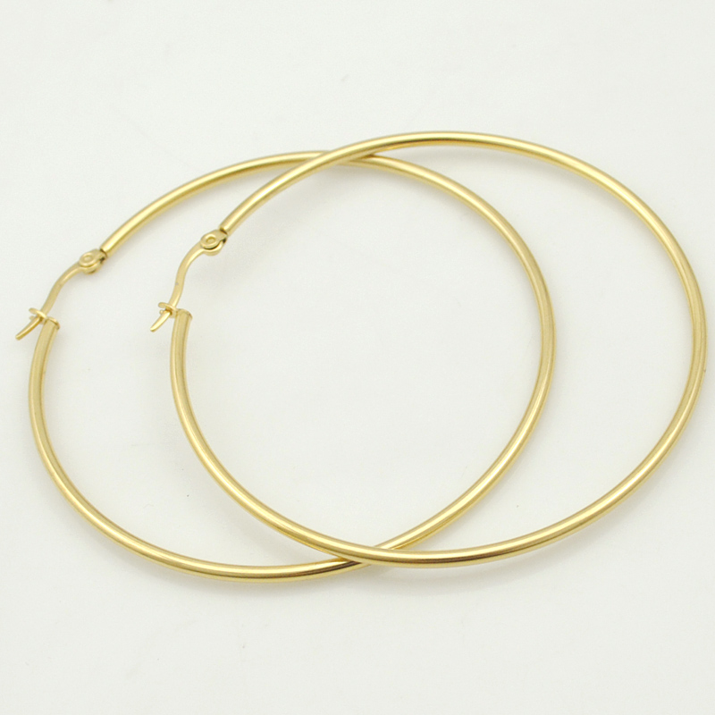 Gokadima Women Earrings, 20mm-70mm EARING HOOP, små eller stora basketkvinnor Stainless Steel Hoop Earrings, Party Smycken