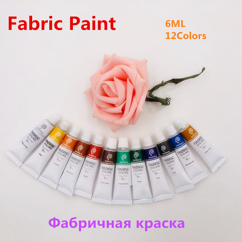 Professional 12 Colors 6ML Textile Fabric Paint Set Non Toxic Tube Acrylic Paint