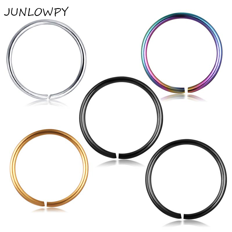 JUNLOWPY Tatinium Anodizd Nose Rings 100PCS Stainless Body Jewelry Piercing Tragus Earring Cartilage Ear Septum Rings 6/8/10mm