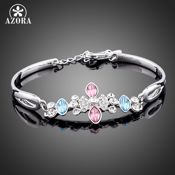 AZORA Persian Cat Eyes White Gold Color Water Drop Stellux Austrian Crystal Jewelry Bracelets TS0024