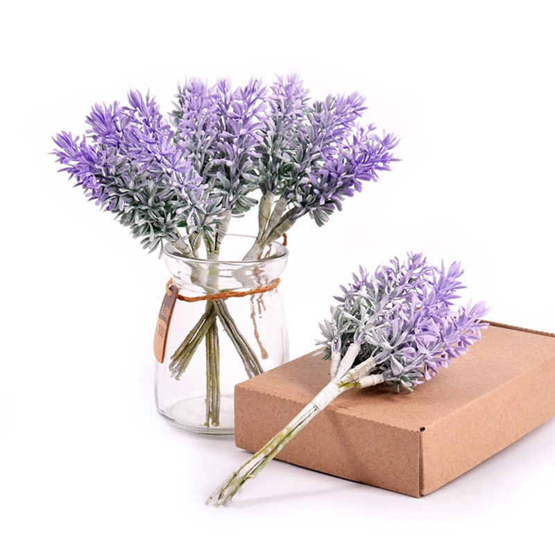 6Pcs/lot Romantic Provence decoration lavender flower artificial plastic for wedding  DIY home accessories