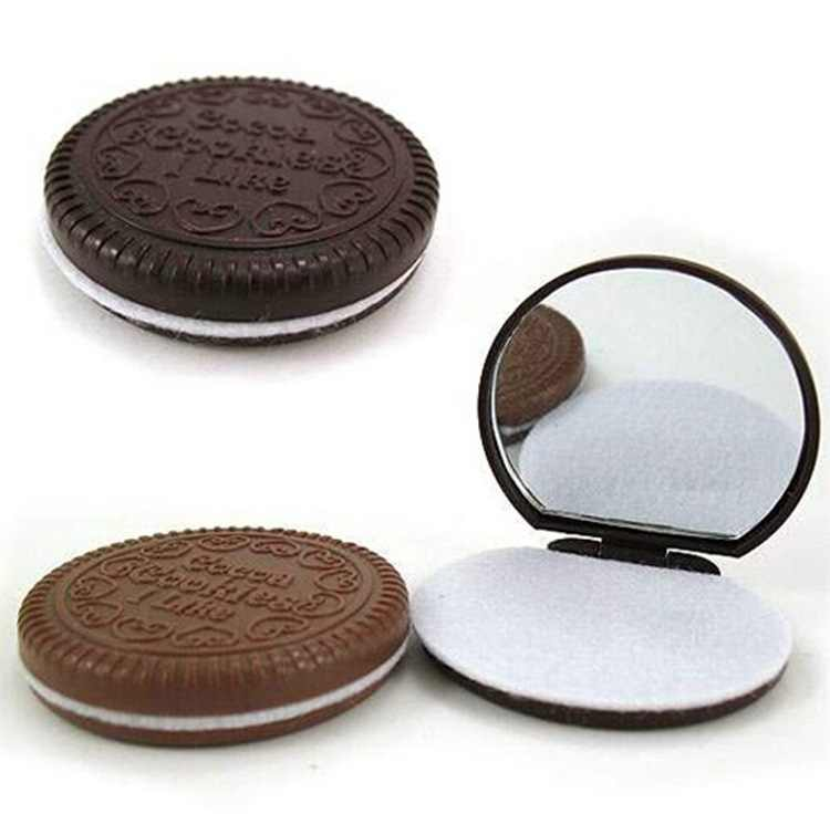 1 PCS Korean Cute Chocolate Cookie Shaped Small Mirror with Comb Makeup Tool Desk Organizer Office Accessories School Supplies