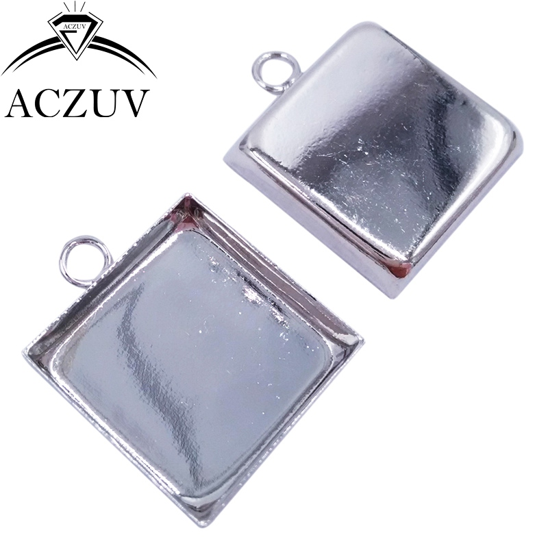 100pcs Rhodium Plated 16mm 18mm 20mm 25mm Square Bezel Pendant Blank Tray Cabochon <font><b>Base</b></font> <font><b>Settings</b></font> <font><b>Jewelry</b></font> Findings SPB004 image