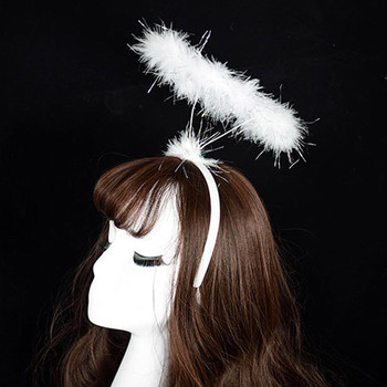40-Ladies Fluffy Adult Halo Headband Angel Fairy Dress Party Hairband Plastic New Black White Pink hair accessories image