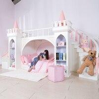 0125TB005 Европейский стиль современная девушка спальня мебель Принцесса замок детская кровать с горкой шкаф для хранения двуспальная кровать