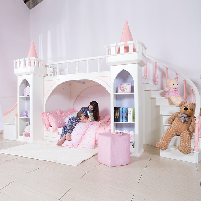 0125TB005 European Style Modern Girl Bedroom Furniture Princess Castle  Children Bed With Slide Storage Cabinet