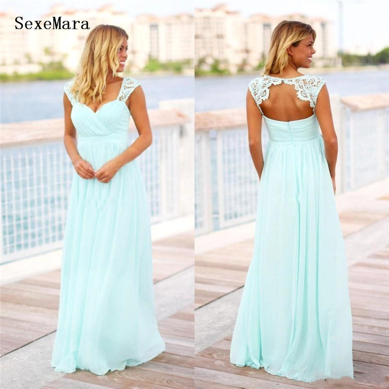 Mint Green Long Beach   Bridesmaid     Dresses   Country Style Floor Length Backless Pregnant Maid of Honor   Dress   For Maternity