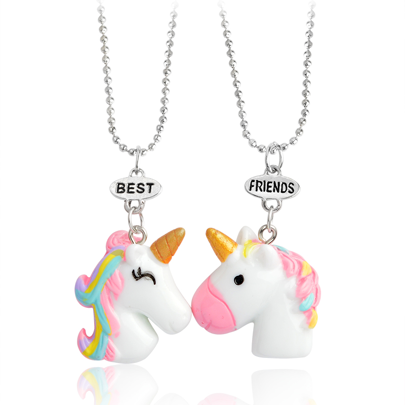 Multicolor curl cartoon unicorn Pendant Cute animal Necklaces dangle Chain Sacred meaningful Jewelry nice gift women accessories