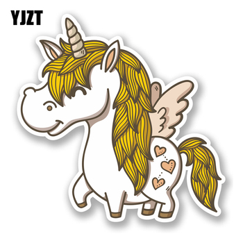 YJZT 14CM13.9CM Interesting Lovely Unicorn Cartoon Horse Colored PVC Car High Quality Sticker Decoration Graphic C1-5048 image
